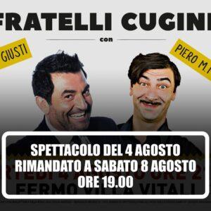 Doppio appuntamento con Macchini e Max Giusti sabato 8 agosto. Rinviata la serata di oggi a villa Vitali